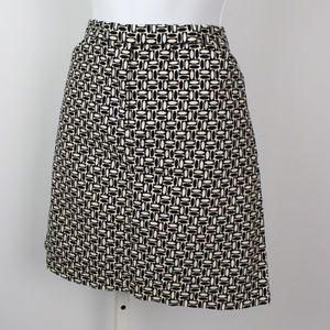 Ann Taylor Loft velvet black white pencil skirt
